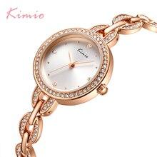 Marca KIMIO reloj de pulsera con esfera pequeña para mujer, de cuarzo con diamantes de lujo, de pulsera, de cristal, 2018