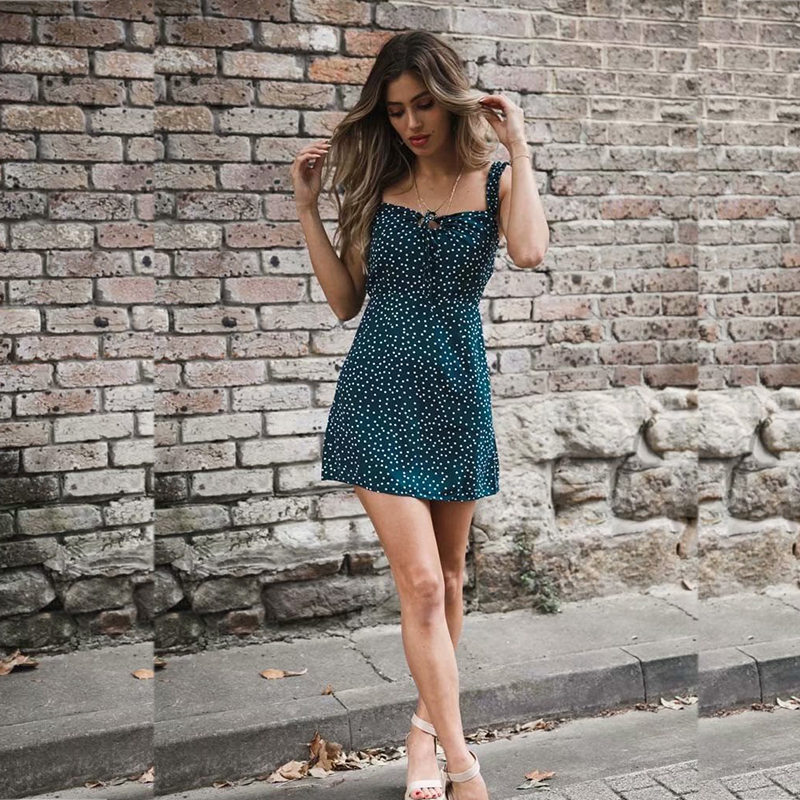 yinlinhe Green Polka Dot Women Dress Sleeveless V neck Strap Summer Dress Backless Elegant Lace Up Vintage Vestidos 9