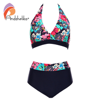 Andzhelika Bikins Women 2017 New Plus Size Swimwear Print Floral High Waisted Bathing Suits Swim Halter