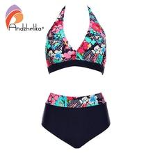 Andzhelika bikins женщины 2017 новый плюс размер купальники печати цветочные высокой талией купальники плавать холтер bikinis set biquini