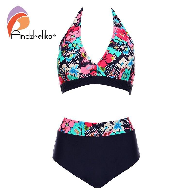 Andzhelika Bikins Women 2017 New Plus Size Swimwear Print Floral High Waisted Bathing Suits Swim Halter bikinis Set Biquini