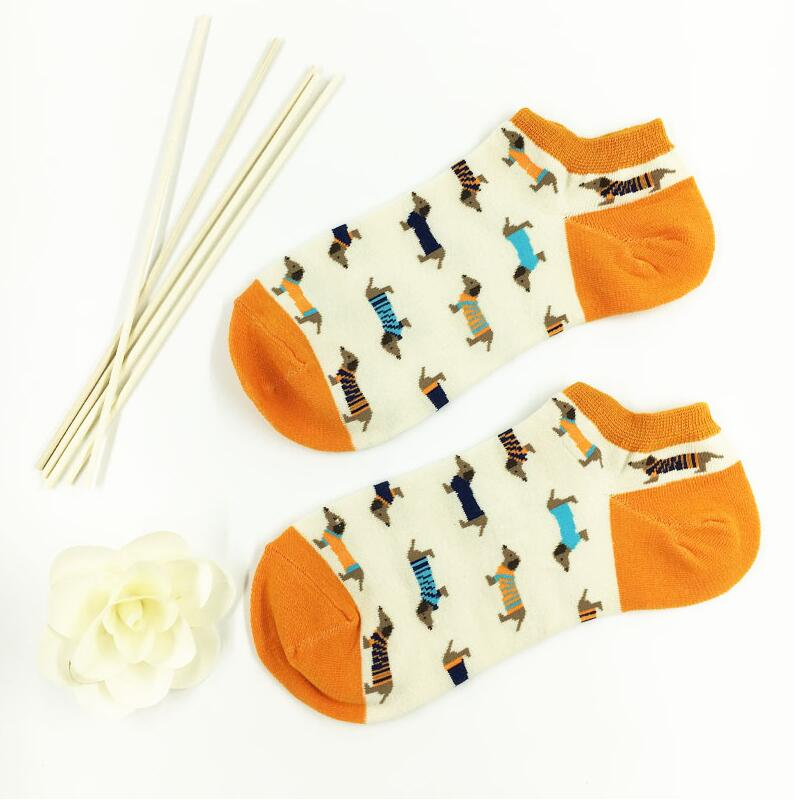 Animal Women Socks Colorful Cute Sausage Dog Cotton Cartoon Couple Lady Girl Spring Summer Socks Support Wholesale Zoo