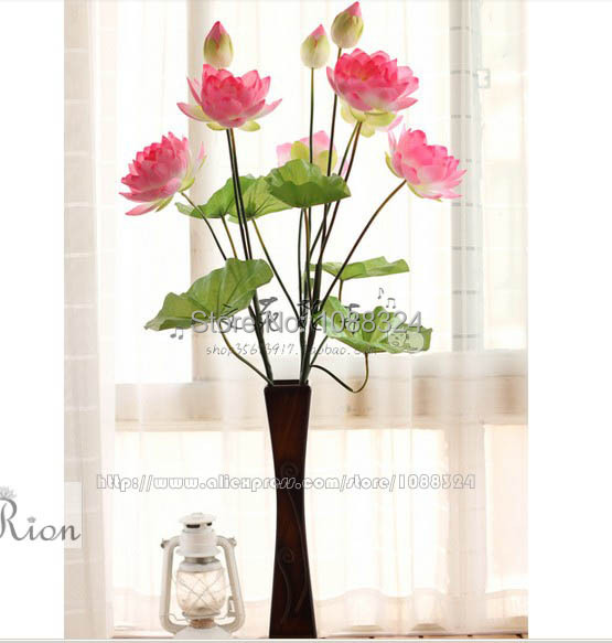 Silk Water Lily With Vase For Decor Craft Fabric Real Touch Flower