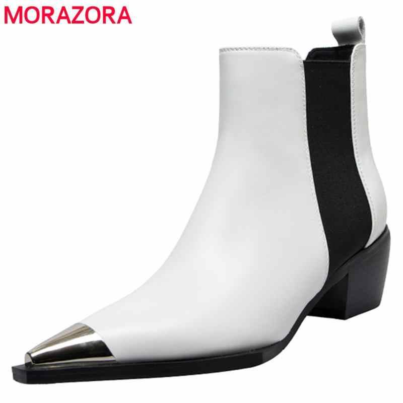 Morazora Natuurlijke Lederen Laarzen Vrouwen Metalen Puntige Teen Dames Enkel Laarzen Voor Vrouwen Vierkante Hakken Lente Herfst Schoenen