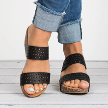 Women Sandals 2019 Summer Fashion Hollow Wedges Shoes Woman Slides Peep Toe Solid Lady Casual Shoes Femme Platform Sandals P25 sandals women flat shoes bandage bohemia leisure lady casual sandals peep toe outdoor chaussures femme ete fashion shoes