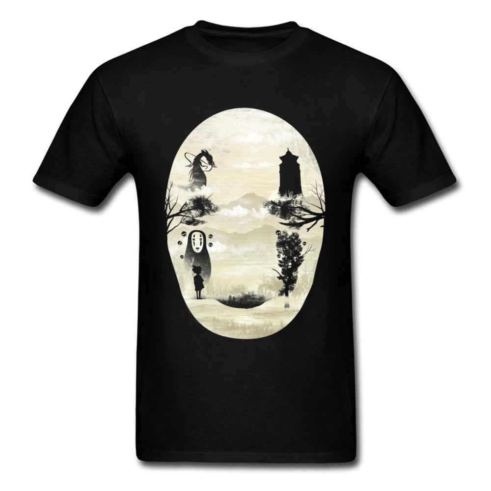Miyazaki Hayao Spirited Away No Face T Shirt Japanese Anime Funny Poster Tshirts Mens Fashion Dragon Ball AC DC Comic T-Shirt