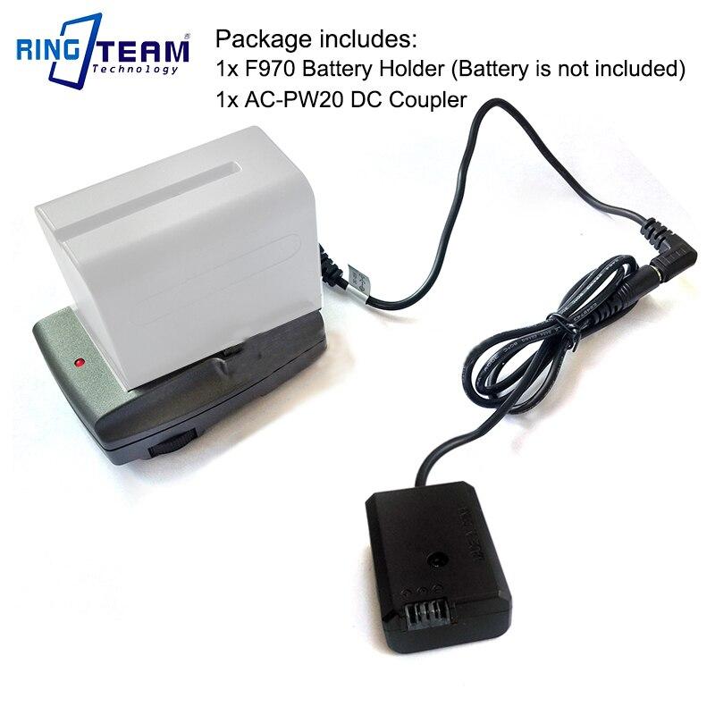 F970 Battery External Power Supply Holder + AC PW20 PW20 DC Coupler for Sony NEX 3 3N 5 6 NEX 7 7R 7S A33 A55 A6300 A6500 Camera|battery coupler|power coupler|sony ac-pw20 - title=