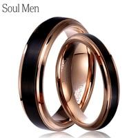 Soul Men 1 Çift Tungsten Karbür Düğün Band Siyah & Gül altın Renk için Çift Yüzük Set 6mm Erkek için 4mm Kadın