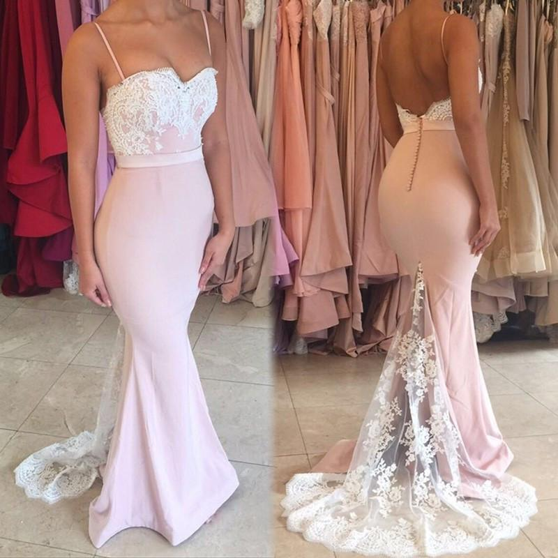 Spaghetti Mermaid Pink and White Lace   Bridesmaid     dress   Long Party Gowns Vestido De Festa Long Party   Dress
