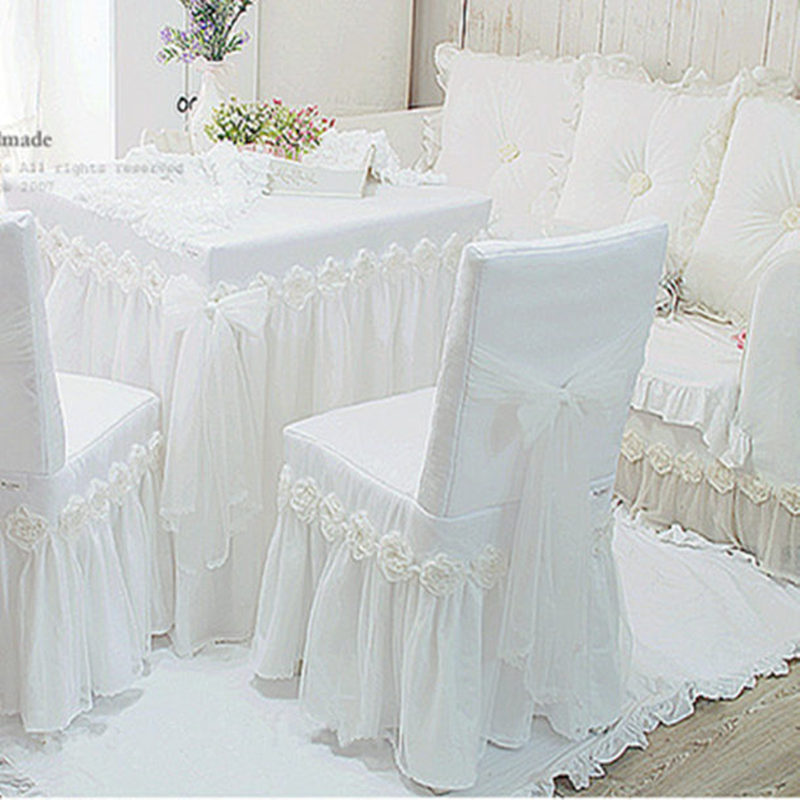 1piece White Princess Lace Tablecloth For Wedding Decoration Luxury Rose Dining Table Cloth Chair Cover