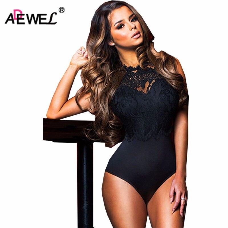 ADEWEL 2019 Sexy Women Lace Bodysuit High Neck Open Back Bodycon Body Tops Woman Bodysuit   Romper   Combinaison Black/white/pink