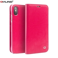 QIALINO For Apple IPhone X Wallet Cases Classic Genuine Cowhide Leather Cell Phone Case For IPhone