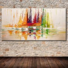 Mintura Yacht Ship Boat Sailing Hand Painted Large Size Pictures Decoracion Canvas Oil Painting Wall Art Decor For Living Room(China)