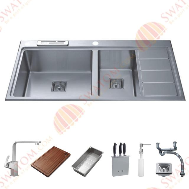 38 Inch 12mm Thickness Stainless Steel Topmount Drop In Double Bowl Kitchen Sink Free