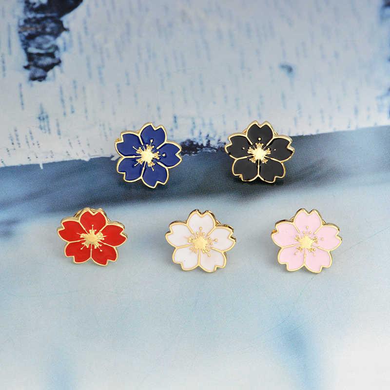 Sakura Bros Pin Hitam Putih Pink Merah Biru Bunga Lencana untuk Tas Pakaian Gaya Jepang Perhiasan Hadiah untuk Anak Perempuan
