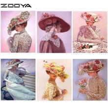 ZOOYA Diamond Painting 5D DIY Full Embroidery Rhinestones Cross Stitch Women Hat Character RF1015