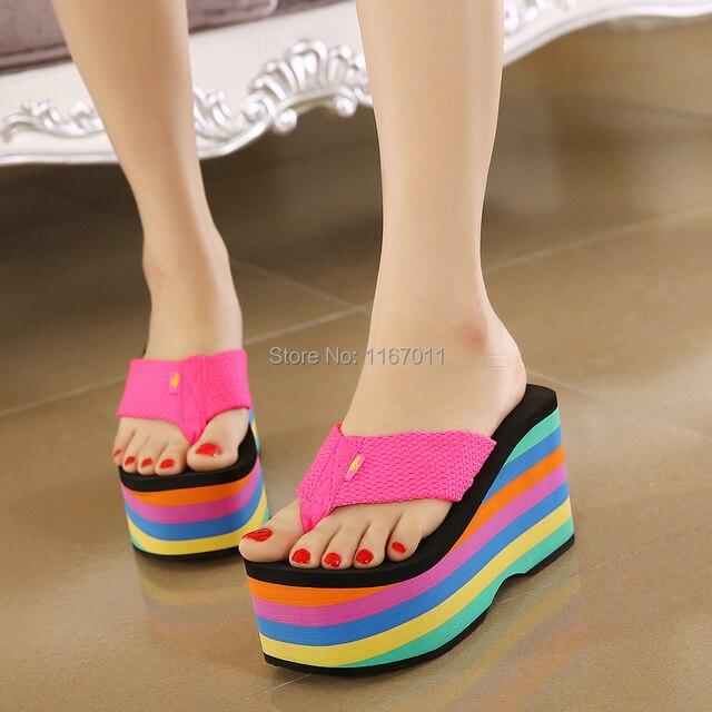 50c09fb97001b 2015 Fashion sandals heels shoes Women Rainbow Shoes wedges platform beach flip  flops platform sandals slippers huarache RocketD