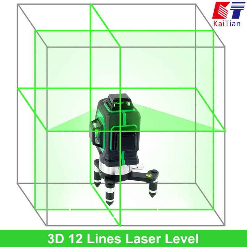 KaiTian 3D Green Laser Level 532nm 12 Lines Cross Level Leveling with 360 Rotary Self Slash Function and Outdoor EU Lazer Levels