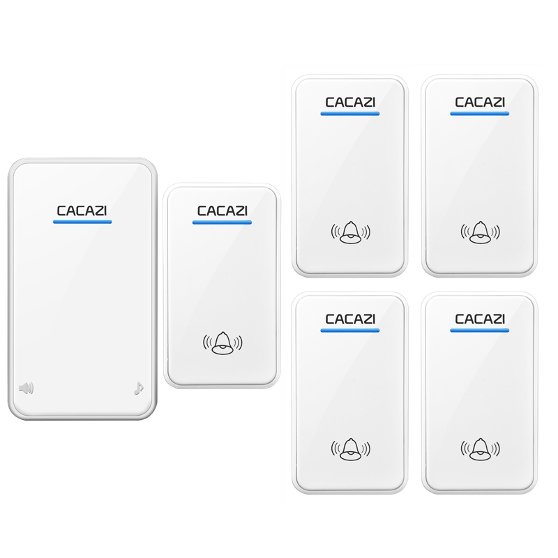 CACAZI DC Wireless Doorbell battery-operated 5 transmitters+1 receiver 300M remote door bell 48 rings 6 volume door chime  cacazi dc wireless doorbell need battery 150m remote waterproof gate door bell chime ring wireless 36 tunes 1 emitter 2 receiver