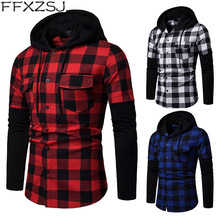FFXZSJ Brand 2019 men's casual spring and autumn plaid cuff stitching double pocket hooded long-sleeved shirt European size hooded panel pocket tartan shirt