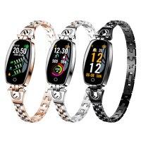 Bakeey H8 HR Smart Band Women Girl Smartwatch Bracelet Fashion Wear Stainless Steel Strap Jewel Watch Business Formal Silver
