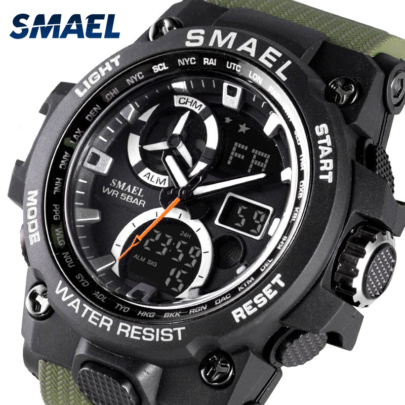 SMAEL Men 39 s Watches Army Green Sport Watch Luxury With 50M Waterproof Dual Time Alarm Clock 8011 relogio masculino Watch Men in Quartz Watches from Watches