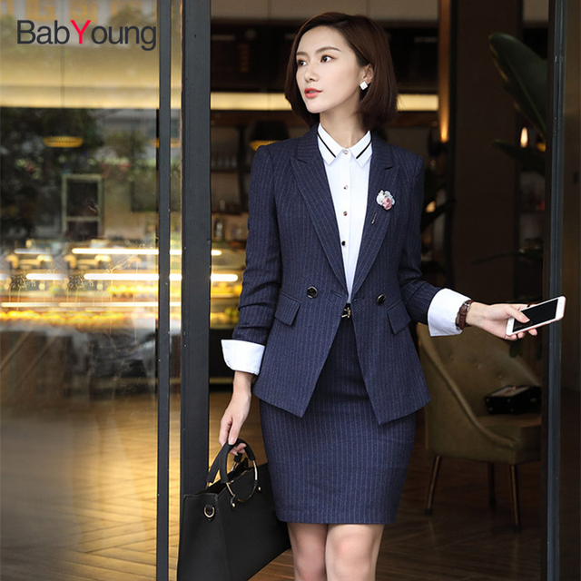 Babyoung Business Blazer Skirt Suit Office Lady Professional Work Wear Coat Winter Elegant Long Sleeve