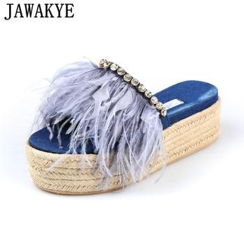Summer Shoes Women Light Blue Denim Feather Crystal decor Slippers Platform wedge high heels 2018 Outdoor Tide sandals Female