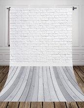 HUAYI Branco papel de vinil Piso de Madeira de tijolo Parede de Tijolos Pano de Fundo para a fotografia papel Pano de Fundo Recém-nascidos D-9713