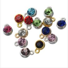30pcs Gold Silver Color Copper Rhinestone Crystal Birthstone Charms Pendant For DIY Jewelry Earrings Finding Accessories Z932
