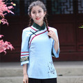Hot New Azul de Linho de Algodão Camisa Das Mulheres do Estilo Chinês Mandarim Collar Tops Flor moda Blusa Tamanho S M L XL XXL XXXL 2619