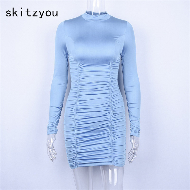 skitzyou Autumn Women Long Sleeve Black Bodycon Party Mini Dresses Sheath  Turtleneck Slim Robe Female Winter b0e83361243d