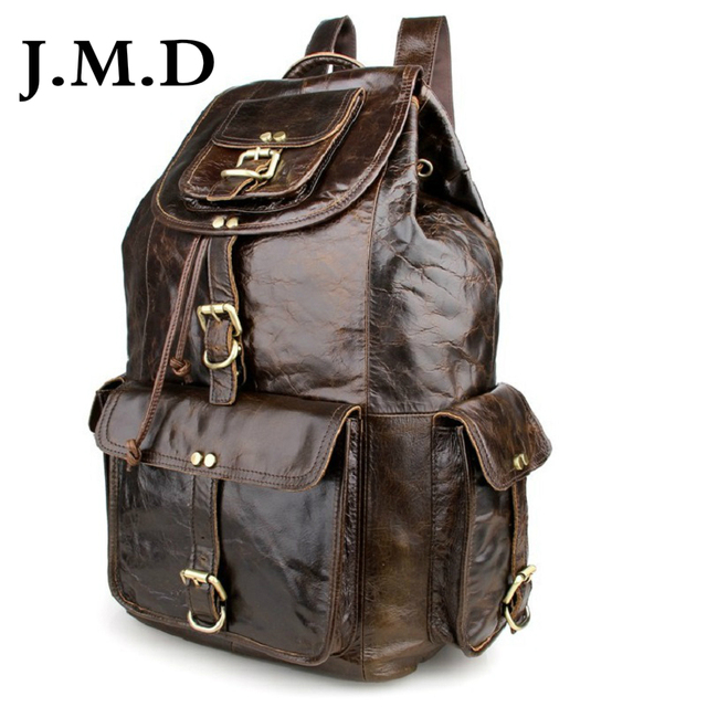 J.M.D 2017 New High Quality 100% Real Cow Leather With Buckled Pockets Closure Small Unisex Backpack Travel Bag 7268