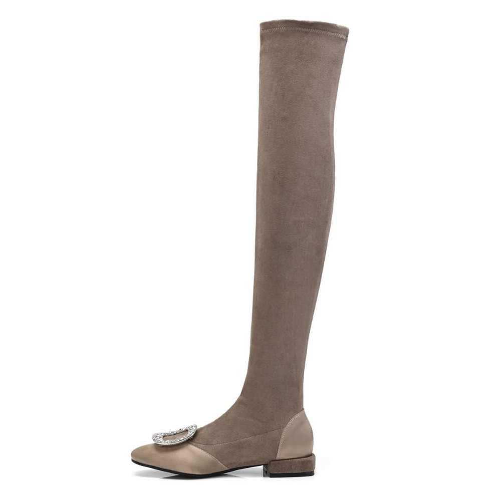 2018 nieuwe collectie grote maat crystal flock over-de-knie laarzen vierkante hak slip op vierkante neus dij hoge laarzen winter schoenen L27