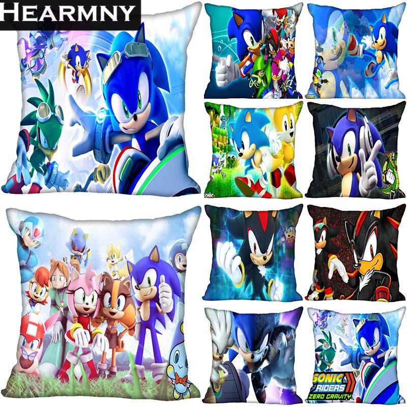 2019 New Sonic The Hedgehog Pillow Cover Bedroom Home Office Decorative Pillowcase Square Zipper Pillow Cases Satin Soft No Fade