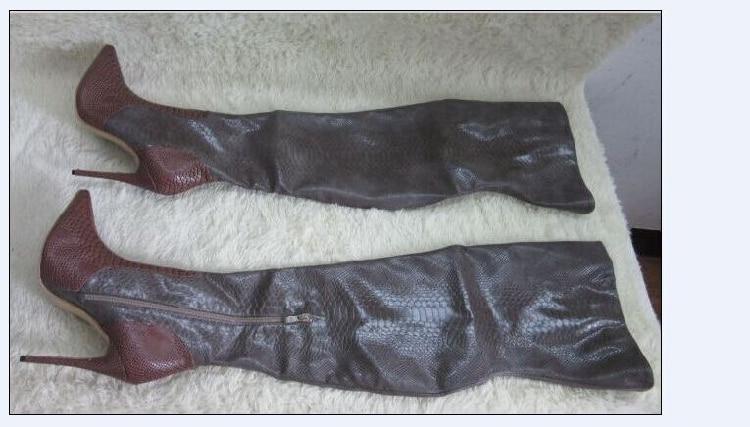 US $101.95 41% OFF|Top Verkauf Vintage Spitzschuh Stiletto Botas Mujer Schlangenhaut Muster Leder Oberschenkel Hohe Stiefel Kleid Schuhe Frauen in