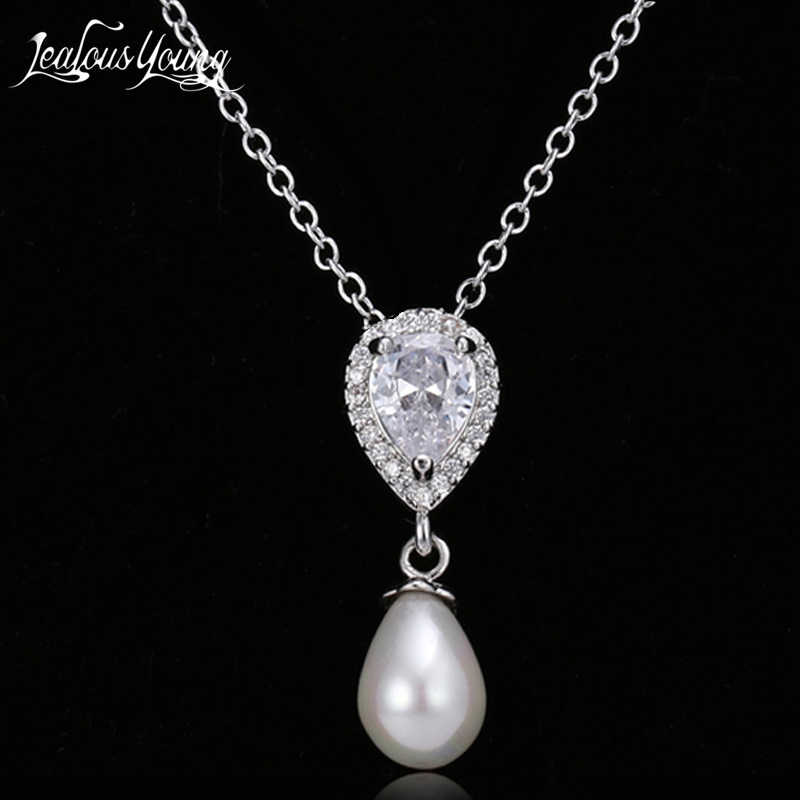 2018 Fashion Oval Simulated Pearl Necklace Women Romantic Water Drop Crystal Pendants Jewelry Women Collar bijoux AN146