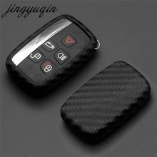 Jingyuqin רכב מפתח מקרה פחמן סיליקון כיסוי עבור לנד רובר ריינג רובר ספורט Evoque Freelander 2 יגואר XE XJ XJL XF C X16 V12