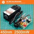 450 nm, 2500 mW 12 V Módulo Laser De Alta Potência tem TTL, Foco Ajustável módulo Laser Azul. DIY acessórios da máquina de gravura do Laser.