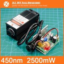 450 nm, 2500 mW 12 V Módulo Láser De Alta Potencia tienen TTL, Foco Ajustable Láser Azul. DIY accesorios de la máquina grabadora Láser.