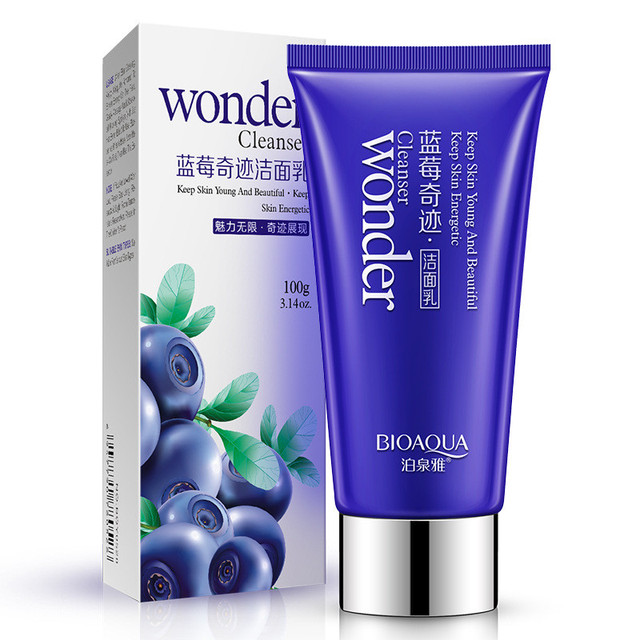 BIOAQUA Blueberry Facial Cleanser Plant Extract Rich Foaming Facial Cleansing Moisturizing Oil Control Face Skin Care Facial Care