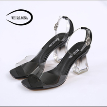 WEIQIAONA sexy ankle strap woman Fashion crystal shoes Rough with high heels transparent ladies heel Wedding Sandals