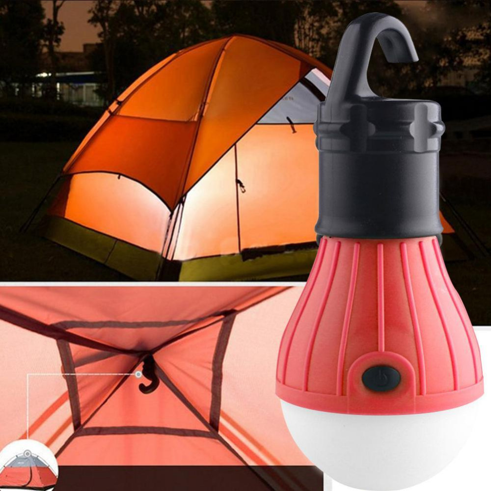 Portable Outdoor Hanging Tent Camping Lamp Soft Light LED Bulb Waterproof Lanterns Night Lights Use 3*AAA Battery 3 colors