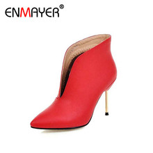 ENMAYER Sexy Red Ankle Boots for Women High Heel Poninted Toe Autumn Winter Fashion Boots Shoes