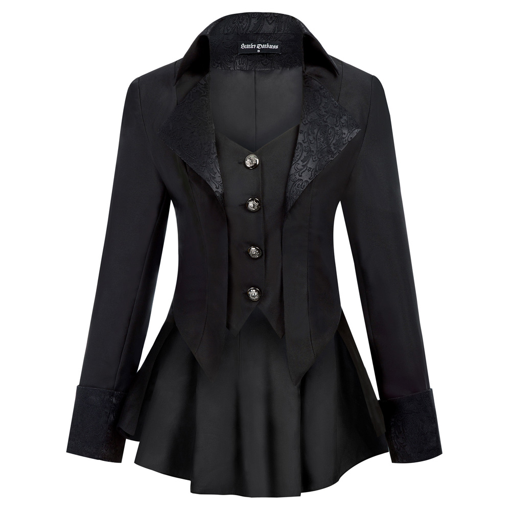 Women Gothic Riding Coat Renaissance party evening club cool Lapel High-Low Hem fit slim solid spring fall retro jacket tops