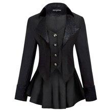 Women Gothic Riding Coat Renaissance party evening club cool Lapel High-Low Hem fit slim solid spring fall retro jacket tops