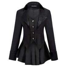 Women Gothic Riding Coat Renaissance party evening club cool Lapel High-Low Hem fit slim solid sprin