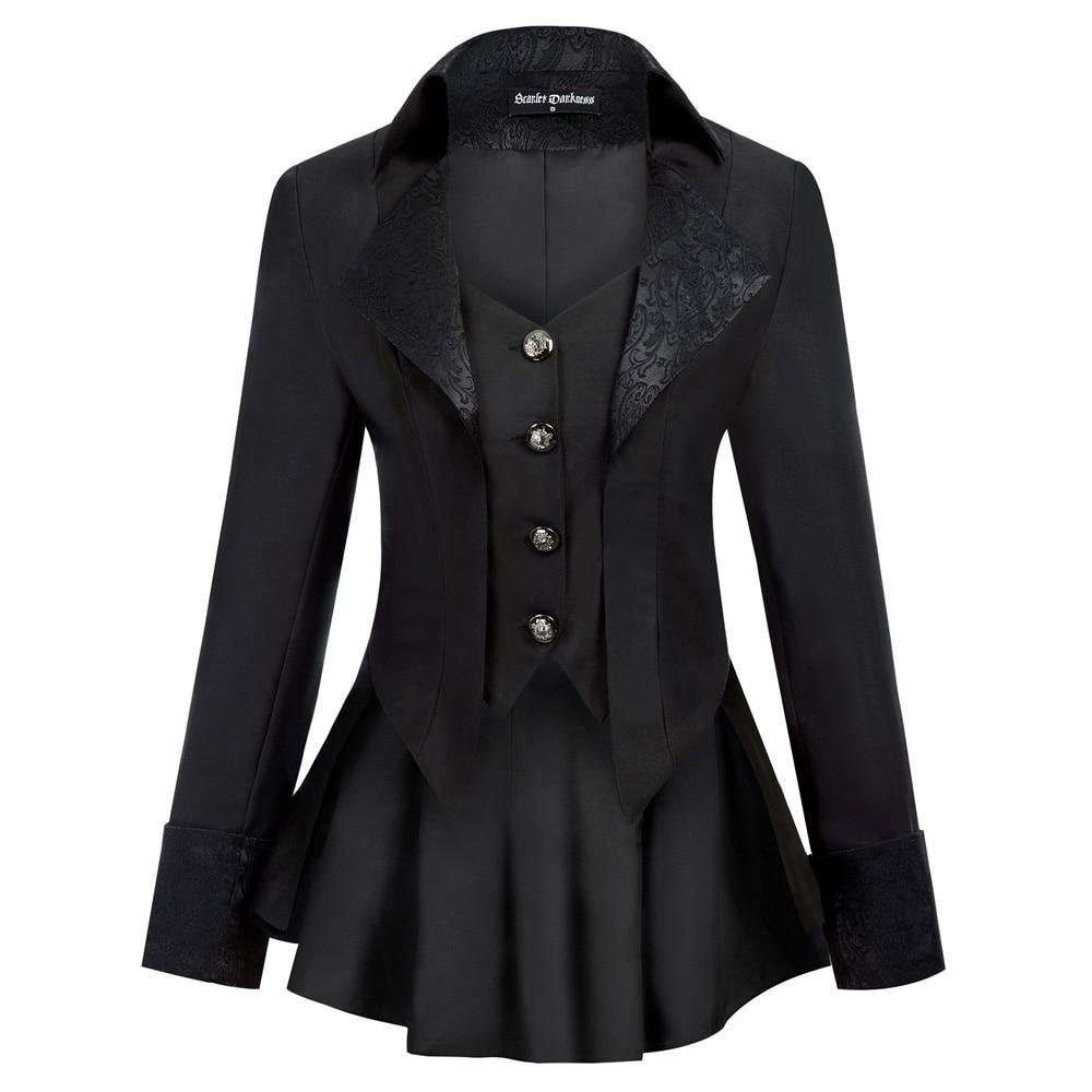 Women Gothic Riding Coat Renaissance party evening club cool Lapel High Low Hem fit slim solid spring fall retro jacket tops