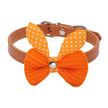 Small Pet Collars Cute Knit Bow knot Adjustable Leather Collar Necklaces