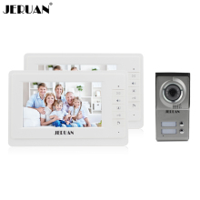 JERUAN Free shipping 7 inch video door phone intercom system 2 monitors 1 camera COMS camera doorphone hands-free